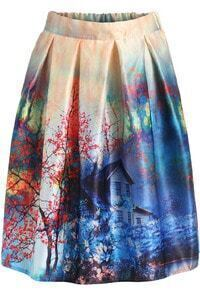 Multicolor Floral Pleated Flare Skirt