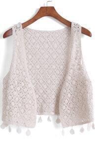 Khaki Hollow Floral Crochet Tassel Vest