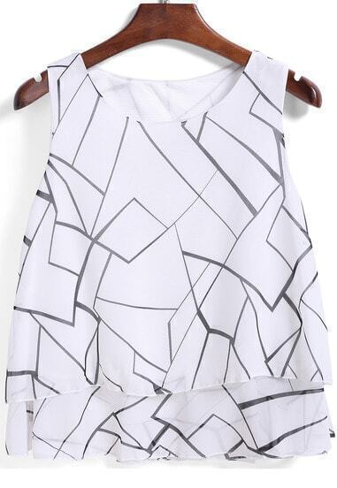 White Round Neck Line Print Chiffon Cami Top