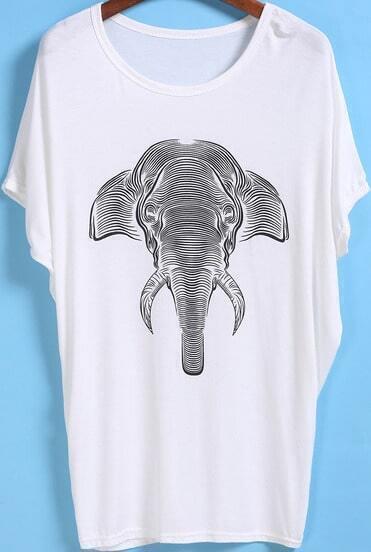 White Short Sleeve Elephant Print Loose T-Shirt