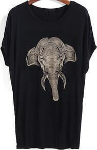 Black Short Sleeve Elephant Print Loose T-Shirt