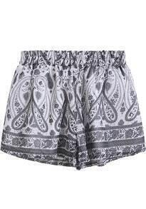 Grey Elastic Waist Tribal Print Shorts
