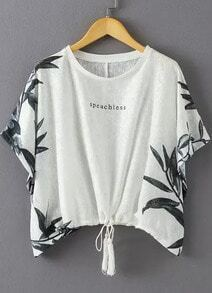 White Short Sleeve Leaves Print Knotted Blouse