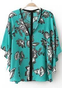 Green Batwing Short Sleeve Floral Loose Blouse