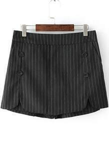 Black Vertical Stripe Buttons Skirt