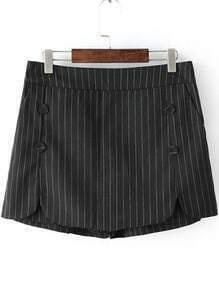 Black Vertical Stripe Buttons Skirt