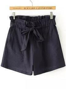Navy Drawstring Waist Pockets Shorts