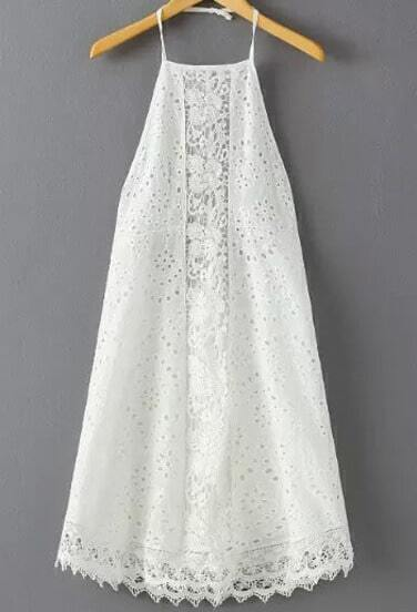 White Halter Hippies Backless Lace Dress