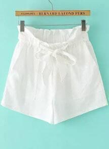 White Drawstring Waist Pockets Shorts