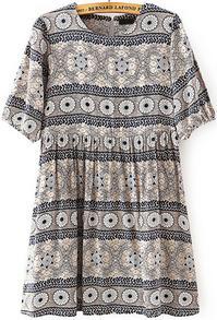 Grey Half Sleeve Vintage Geometric Print Dress