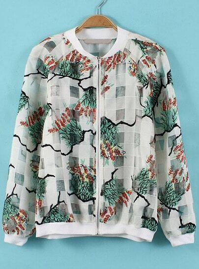 White Branch Print Plaid Organza Jacket