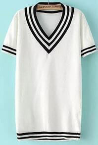 White V Neck Short Sleeve Striped Knitwear