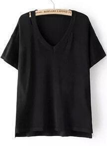 Black V Neck Hollow Dip Hem Knitwear