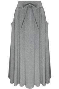 Grey Drawstring Waist Pleated Skirt