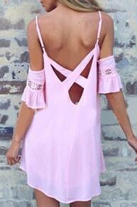 Pink Spaghetti Strap Loose Chiffon Dress