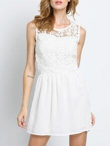 White Lace Insert Hollow A-Line Dress