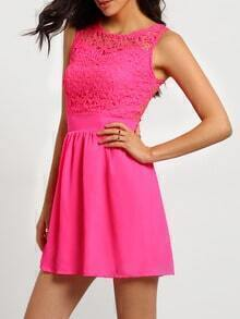 Rose Red Lace Insert Hollow A-Line Dress