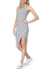 Black White Sleeveless Striped Split Dress