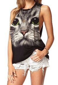 Black Round Neck Cat Animal Print Loose Tank Top