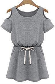 Grey Off the Shoulder Drawstring Slim Dress
