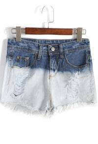 Colour-block Ripped Fringe Denim Shorts