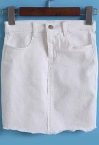 White Pockets Peplum Trim Denim Bodycon Skirt