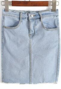 Blue Pockets Peplum Trim Denim Bodycon Skirt