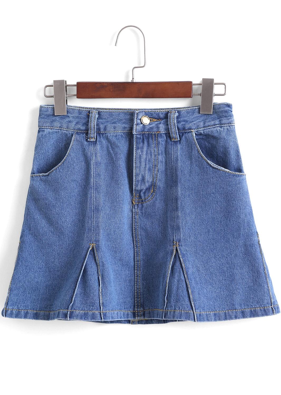 blue pockets ruffle denim skirt shein sheinside