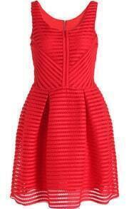 Red Sleeveless Hollow Striped Flare Dress