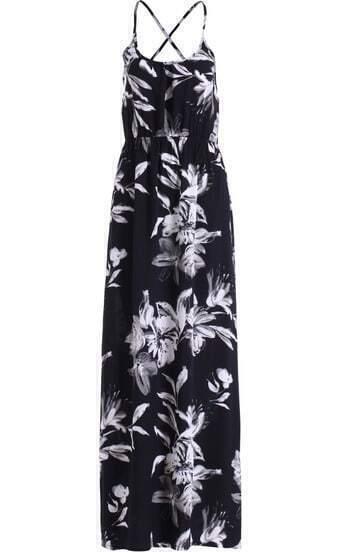 Black Criss Cross Back Floral Maxi Dress