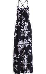 Black Criss Cross Back Floral Maxi Dress