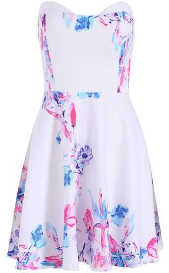 White Strapless Floral Pleated Slim Dress