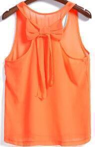 Orange Round Neck Bow Embellished Chiffon Tank Top