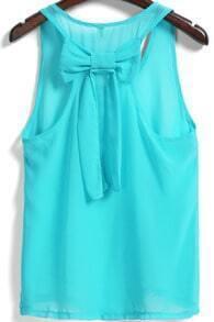 Blue Round Neck Bow Embellished Chiffon Tank Top