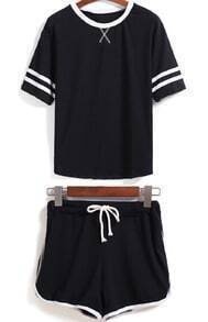 Black Short Sleeve Striped Top With Drawstring Shorts