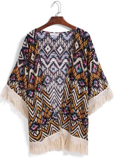 Multicolor Geometric Print Tassel Loose Kimono