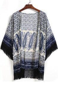 Blue Cashew Print Tassel Loose Kimono