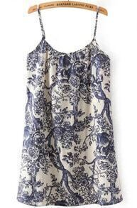 Blue Spaghetti Strap Vintage Branch Print Dress