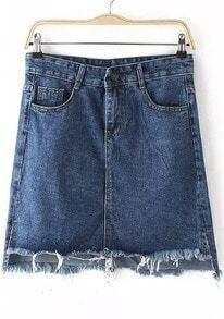 Blue Pockets Fringe Denim Skirt