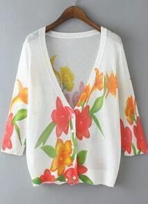 White V Neck Red Floral Knit Cardigan