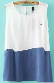 White Blue Round Neck Button Embellished Tank Top