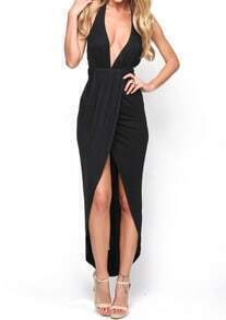 Black Halter Deep V Neck High Low Dress