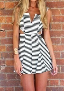 Black White Strapless Striped Hollow Sundress