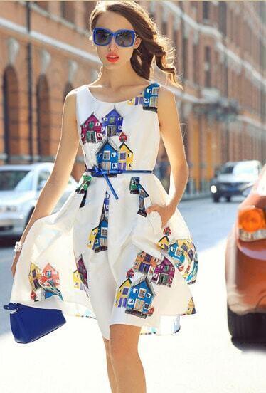 White Sleeveless House Print Flare Dress