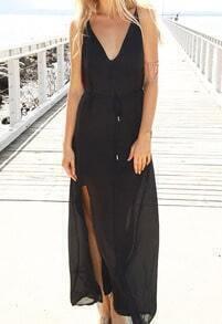 Black V Neck Backless Split Maxi Dress