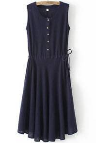 Navy Sleeveless Buttons Bandage Pleated Dress