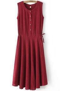Red Sleeveless Buttons Bandage Pleated Dress