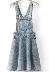 Blue Strap Pleated Flare Denim Dress