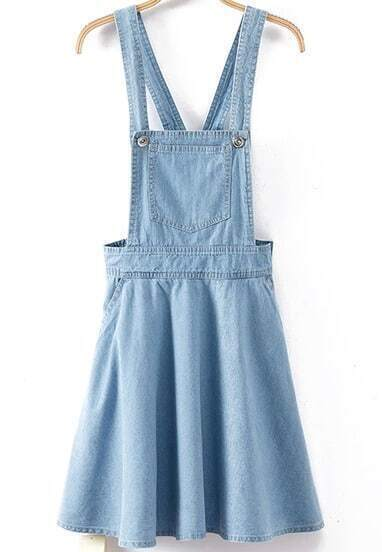 Light Blue Strap Pleated Flare Denim Dress
