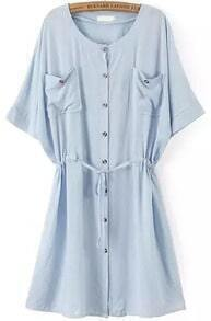Blue Short Sleeve Drawstring Waist Buttons Dress